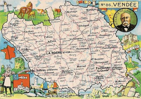 Recto d'une carte postale timbrée au dos envoyée depuis la Vendée
