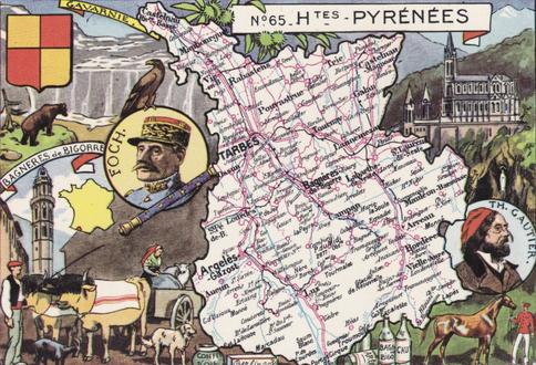 Recto d'une carte postale timbrée au dos envoyée depuis les Hautes-Pyrénées