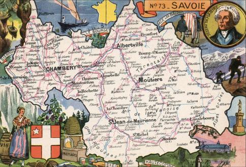 Recto d'une carte postale timbrée au dos envoyée depuis la Savoie