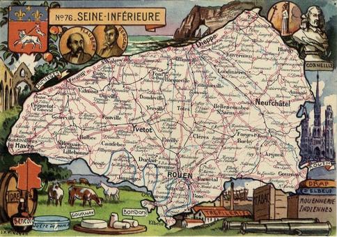 Recto d'une carte postale timbrée au dos envoyée depuis la Seine-Maritime