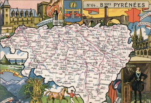 Recto d'une carte postale timbrée au dos envoyée depuis les Pyrénées-Atlantiques