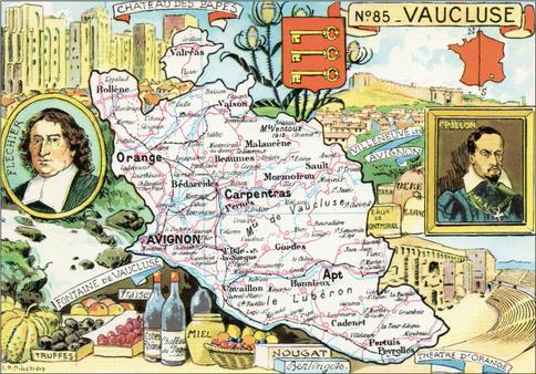 Recto d'une carte postale timbrée au dos envoyée depuis le Vaucluse
