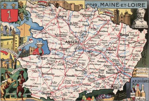 Recto d'une carte postale timbrée envoyée depuis le Maine-et-Loire