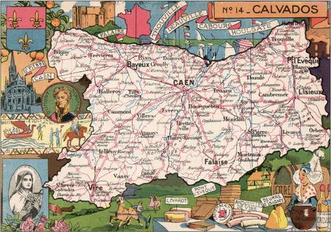 Recto d'une carte postale timbrée envoyée depuis le Calvados