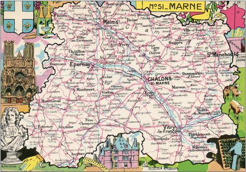 Recto d'une carte postale timbrée envoyée depuis la Marne