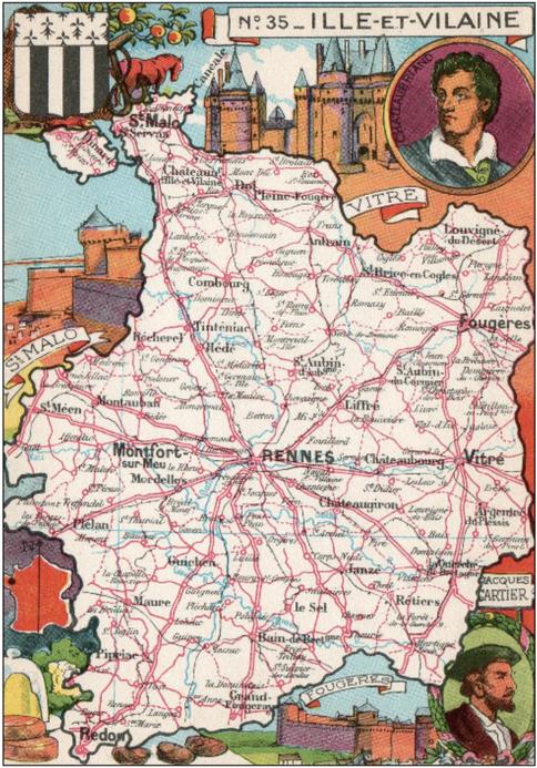 Recto d'une carte postale timbrée envoyée depuis l'Ille-et-Vilaine