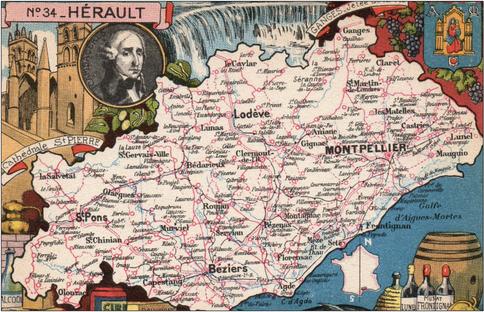 Recto d'une carte postale timbrée envoyée depuis l'Hérault