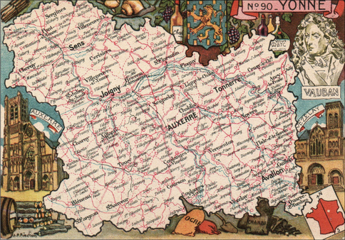 Recto d'une carte postale timbrée au dos envoyée depuis l'Yonne