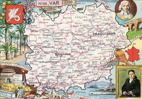 Recto d'une carte postale timbrée au dos envoyée depuis le Var