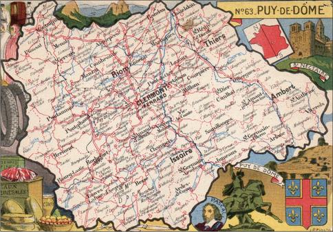 Recto d'une carte postale timbrée envoyée depuis le Puy-de-Dôme