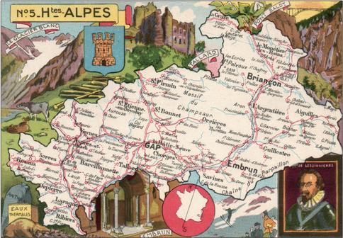 Recto d'une carte postale timbrée au dos envoyée depuis les Hautes-Alpes