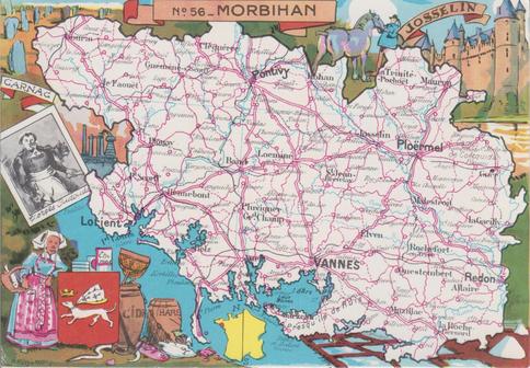 Recto d'une carte postale timbrée envoyée depuis le Morbihan