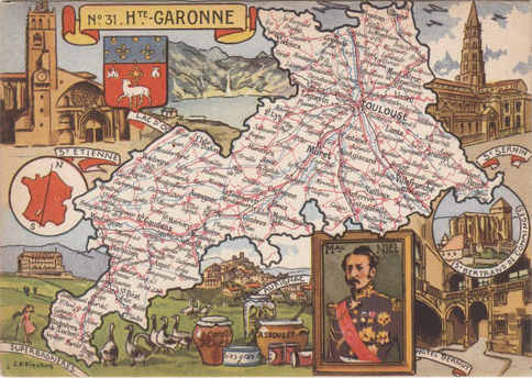 Recto d'une carte postale timbrée envoyée depuis la Haute-Garonne