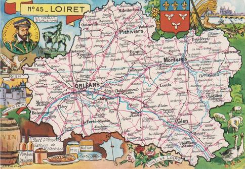 Recto d'une carte postale timbrée envoyée depuis le Loiret