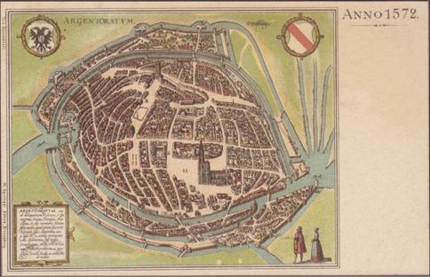 Recto d'une carte postale timbrée au dos envoyée depuis le Bas-Rhin