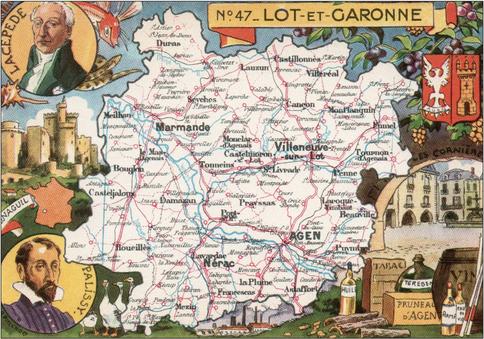 Recto d'une carte postale timbrée envoyée depuis le Lot-et-Garonne