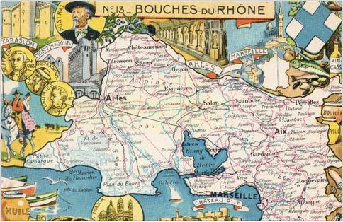 Recto d'une carte postale timbrée envoyée depuis les Bouches-du-Rhône