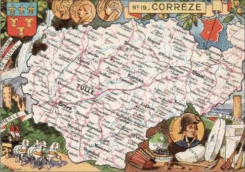 Recto d'une carte postale timbrée envoyée depuis la Corrèze