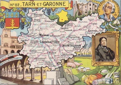 Recto d'une carte postale timbrée au dos envoyée depuis le Tarn-et-Garonne