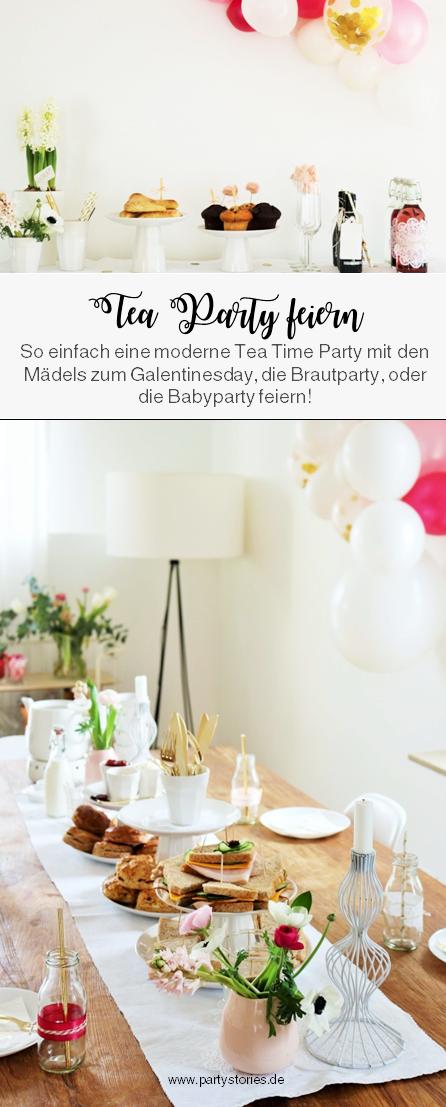 Bild: moderne Tea Time Party feiern // Finde Ideen für Deko, Scones, Sandwiches, den gedeckten Tisch und viele Tipps zum Tea Time Party Feiern mit den Mädels // zum Geburtstag, JGA, Bridalshower, Babyparty oder Valentinstag! www.partystories.de