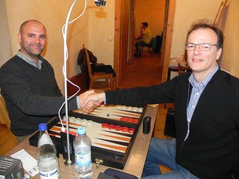 Vor dem Beginn des Finalmatches: Tibor Taylor (li) und Dankwart Plattner