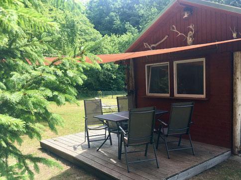 Ferienhaus Urlaub MV Hütte Blockhaus Mecklenburger Seenplatte