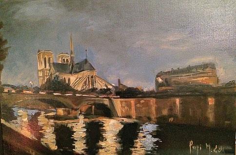 Notre Dame tableau réalisé pour le film Parisiennes