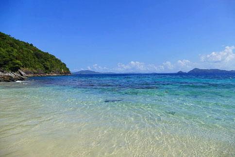 Der Strand vom Coconut Garden Island Resort ist traumhaft. Coconut Garden Island Resort liegt etwa 45 Minuten ausserhalb von Port Barton und ist ein Paradies.