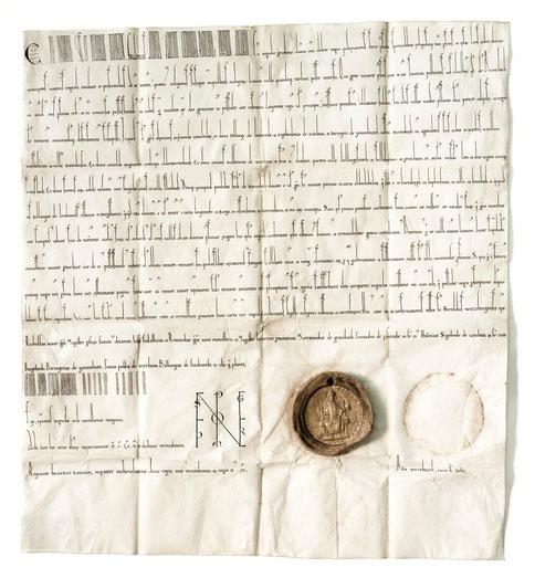 1165 Barbarossa-Urkunde / StAWt-R US 1165 Juni 14