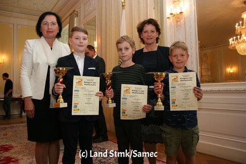 Siegerehrung Ecolier4: Lukas Schweighofer, Lorenz Werner, Mathias Kornschober