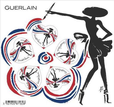 2020 - GUERLAIN : PLANCHE DE 5 TIMBRES LA PETITE ROBE NOIRE