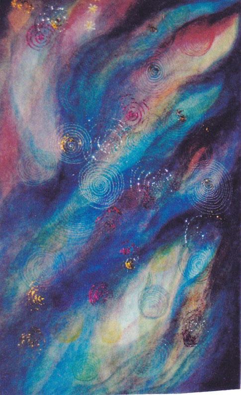 in Pflanzenfarben gemaltes Bild mit goldenen und farbigen Spiralen, als Symbol des Menschen uns seines ewigen Lebens. Das Bild ist ganz in Blau gemalt, in vielen Nuancen, blau wie der Himmel.