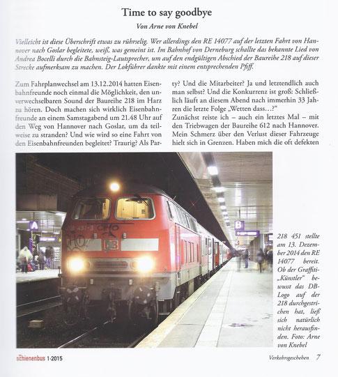 """Bericht aus der Fachzeitschrift """"Der Schienenbus"""" (zum Vergrößern bitte anklicken)"""