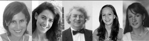 Vokalensemble  der Operamobile (von links nach rechts:)  Harald Schmieder, Karl Heer, Werner Deepe, Sandra Juon, Anita Heer, Adelheid Keller