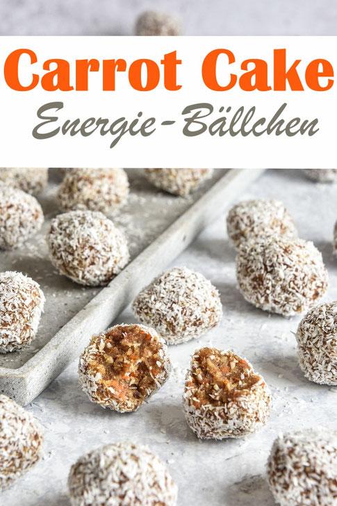 Gesund naschen mit diesen Carrot Cake Energy Balls, bestehend aus Haselnüssen, Mandeln, Möhren, Kokosraspel, Datteln etc. vegan, Thermomix