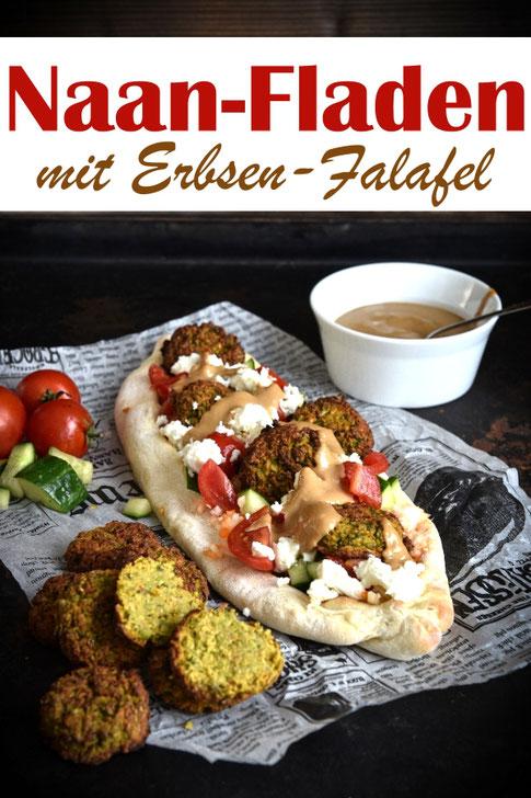 Erbsen-Falafel auf Naan-Fladen oder -Schiffchen mit selbst gemachter Tahinsoße. Yummy!! Vegetarisch, vegan machbar, Falafel aus Erbsen statt aus Kichererbsen, statt Wrap auf einem fluffigen indischen Naanbrot, Thermomix