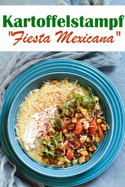 Kartoffelstampf Fiesta Mexicana, Kartoffelpüree mit Tex Mex Topping aus vegetarischem Hackersatz (Kidneybohnen und Haferflocken), Mais, Tomaten, Zwiebeln, Avocado, Sour Cream, vegetarisch, vegan machbar, Thermomix