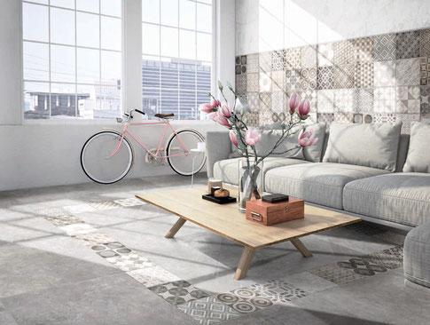 Piastrelle di ceramica da pavimento o rivestimento effetto patchwork