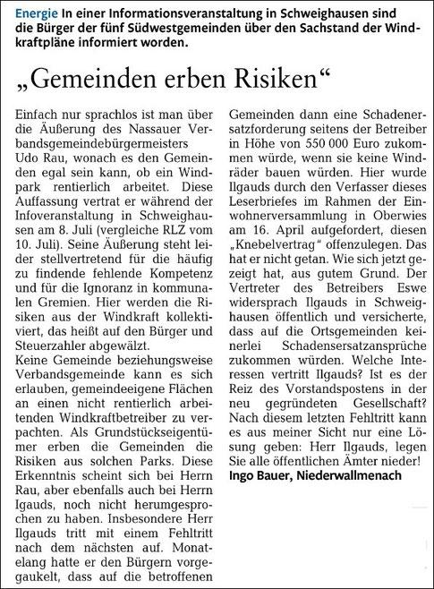 Rhein-Lahn-Zeitung v. 14.07.2015