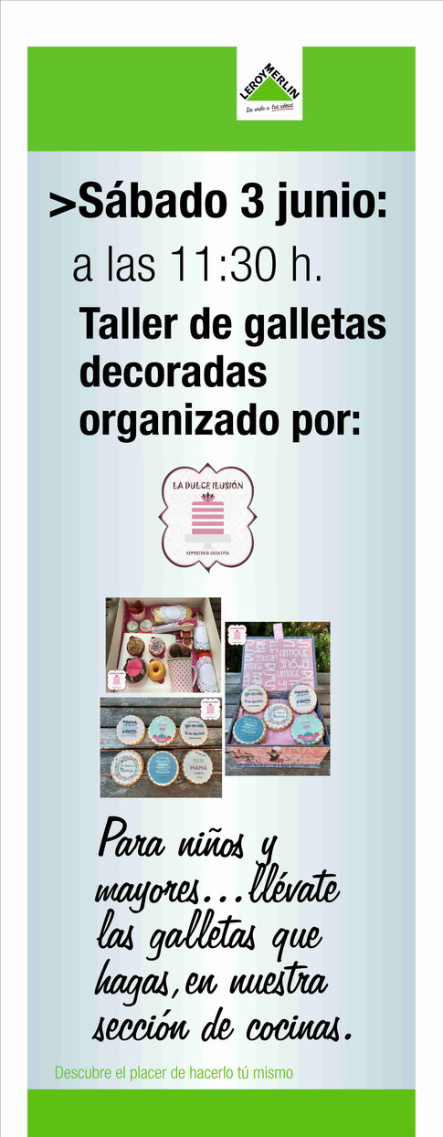 Taller de galletas decoradas para niños y mayores en Leroy Merlin Murcia. Galletas decoradas originales en Murcia y Cartagena. Galletas personalizadas en Murcia y Cartagena.