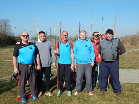 Riege mit Bernhard Tretter, Steffen Klein, Reinhard Rhaue, Gerhard Zachrau, Sven Griesheimer und Norbert Gundermann (v. l. n. r.).