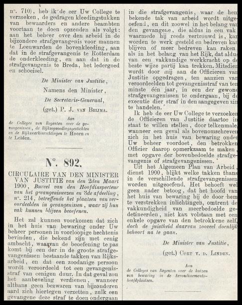Circulaire uit verzameling wetten, besluiten en voorschriften van het Gevangeniswezen 1900- 1909