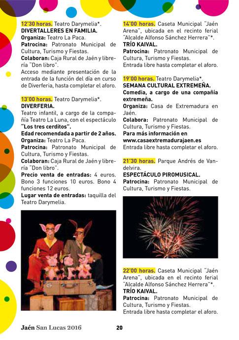 Programa de la Feria y Fiestas de San Lucas en Jaén