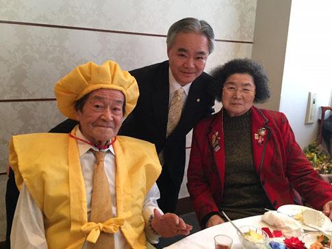 初野 好先生(88歳) 美奈子令夫人(80歳) 飯塚幸雄(62歳)   2017.1.15 東天紅・深川店にて