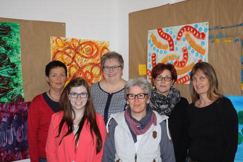 Foto von links: Regina Preßler, Charlotte Krug, Ulrike Krug, Christiane Knab, Sylvia Lengfeld-Milling, Christiane Metja (Foto: Malgruppe Hofgeismar)