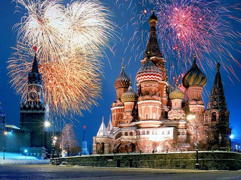 Le nouvel an à Moscou sur la place Rouge.