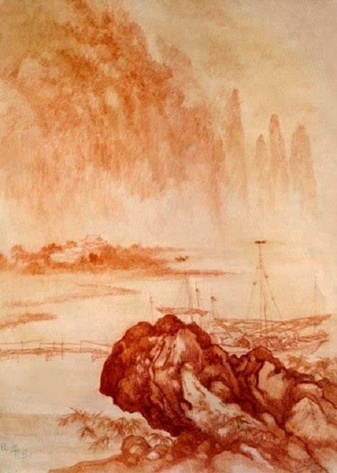 1956. MONTAGNES ET EAUX. SANGUINE. 64 x 50 cm.  COLLECTION NGÔ KIM-KHÔI. C*. DINH T. H.