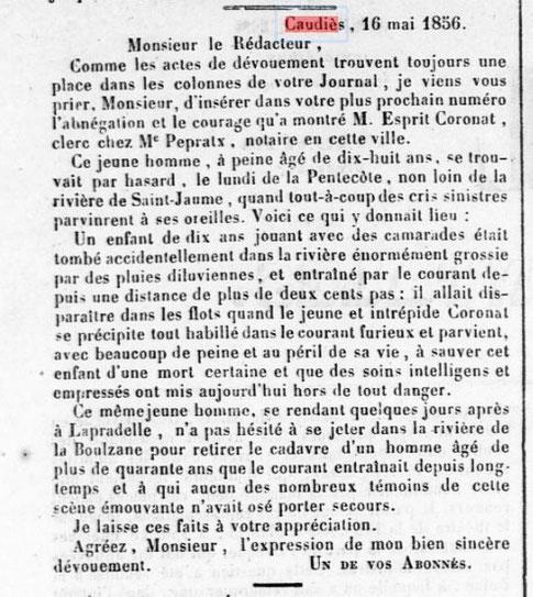 Sauvetage Coronat 1856