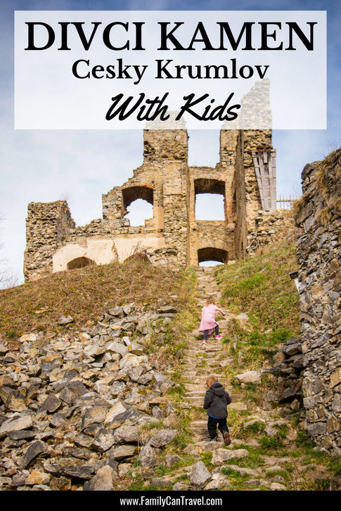 The ruins of Hrad Divci Kamen near Cesky Krumlov are truly a hidden gem. We had the entire place to ourselves and loved exploring with our kids. #divcikamen #ceskykrumlov #czechrepublic #travelwithkids #familytravel #toddler #traveltips