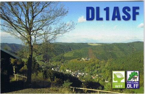 """Neue QSL   -   Blick auf Leutenberg im Naturpark """"Thüringer Schiefergebirge - Obere Saale""""  DLFF-127"""